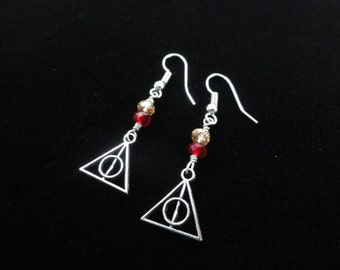 Deathly Hallows Earrings, Harry Potter Earrings, Gryffindor House Colors, Red & Gold Beads, Sterling Silver Handmade Dangle Earrings