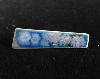 Vintage Floral Enameled Copper Brooch, Blue & Pink Flower Enamel Rectangle Brooch Pin- Handmade Vintage Mod Jewelry 1950s 1960s
