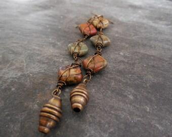Long Gemstone and Brass Dangle Earrings, Earthy, Rustic Modern Statement Earrings