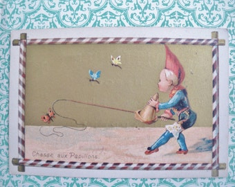 Vintage / Antique Trade Card 1870s 1880s - Drapery Fabric Shop Store - English Draper in Italy