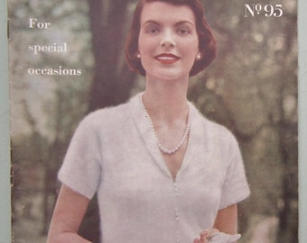 Vintage 1940s Vogue Knitting Patterns Book Vogue-Knit No. 95 For Special Occasions womens blouses sweaters shawls - 40s original patterns