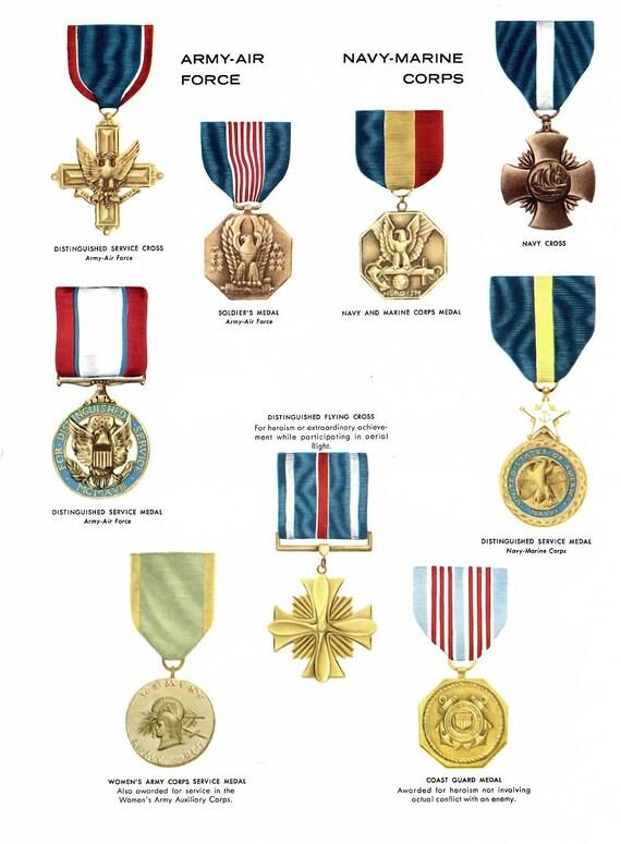 Military Medal Illustration Us Military Medal Print Vintage