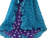 Teal Rose Swirl with Purple Dandelion Print Minky Baby Blanket, Rose Swirl and Minky Dot Baby Blanket available in three sizes
