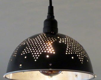 Black Star colander pendant light - plug-in or install