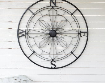 Wall Compass ,Nautical Wall Art, Nautical Decor, Metal Wall Decor, Nautical Wall Art, Black Wall Decor
