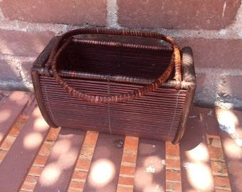 Vintage Bamboo Handbag - basket bag - hipster bag - boho bag - wood bag - unique - summer bag - festival bag - 1970s vintage bag