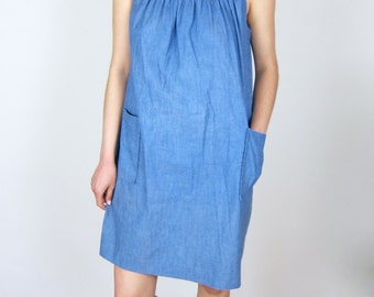 Denim Embroidered Tent Dress
