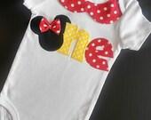 Minnie One Onesie, Minnie First Birthday, Minnie Cake Smash, Baby Girl Minnie Bodysuit, Red Minnie Mouse Onesie, Minnie Photography Prop