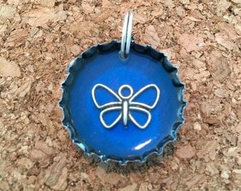 Silver butterfly bottle cap pendant