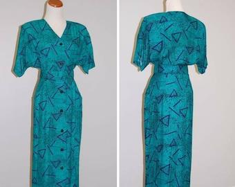 Vintage Dress -1980s Shirt Dress -80s Dress - Retro Dress - 80s Fashion - Raglan Sleeves - Abstract Green Print - Danny & Nicole - Size 6