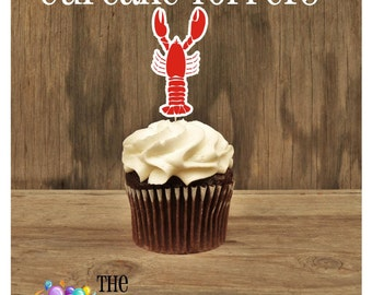 """Lobster Party - Set of 12 """"The Maine Man"""" Mr. Lobster Cupcake Toppers by The Birthday House"""