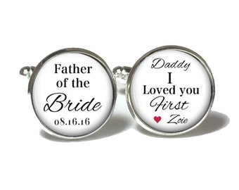 Father of the Bride Cufflinks, Personalized Cufflinks, Wedding Cuff links, Style 660
