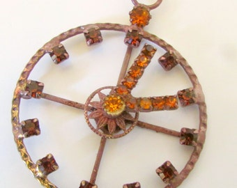 Victorian Necklace Pendant Clock Rhinstone Moving Parts Hands Move Topaz Rhinestone Pendant