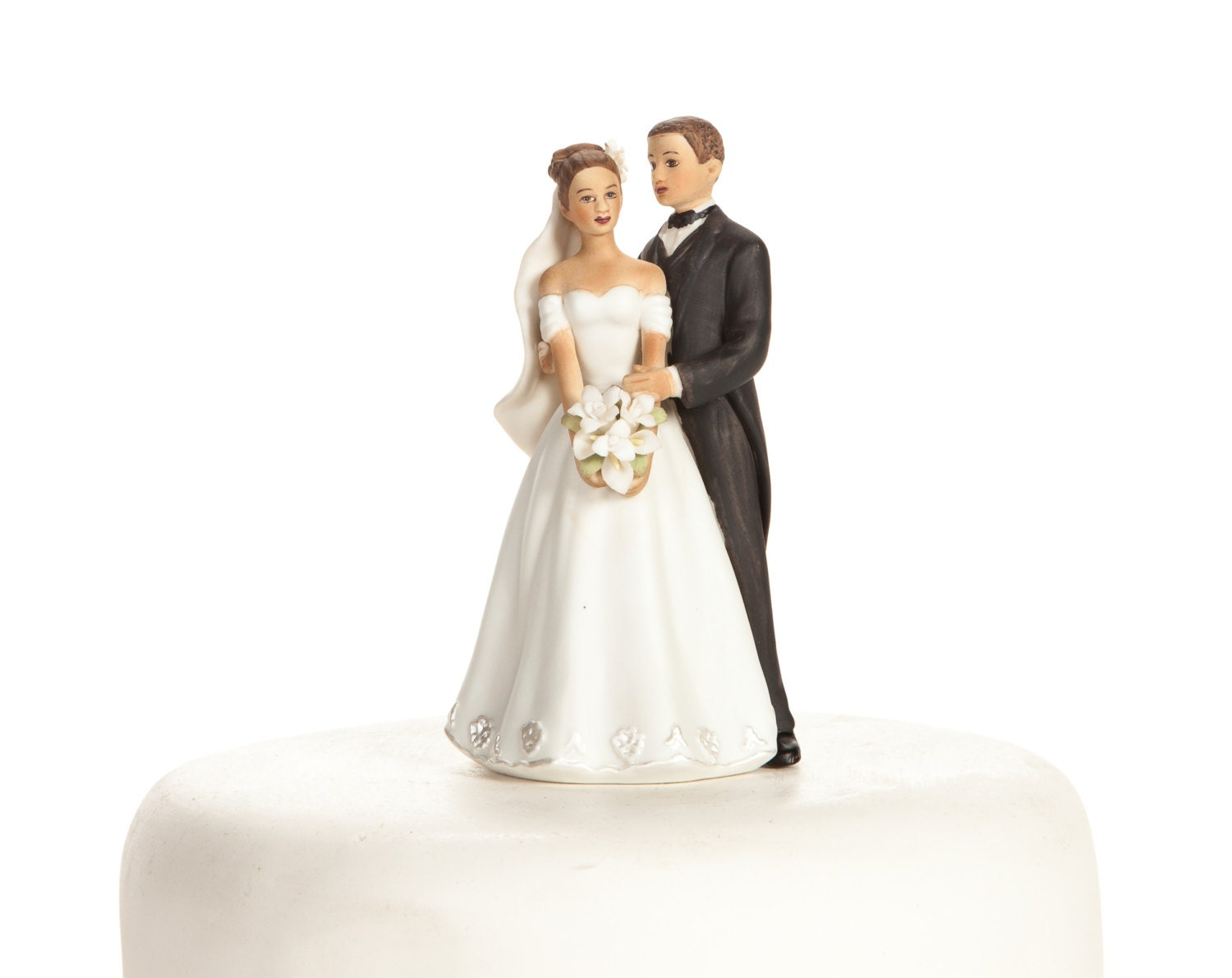Small Elegant Medium Skin Tone Wedding Cake Topper Custom