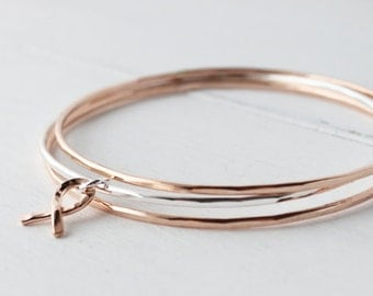 Sterling Silver and 14kt Rose Gold Filled Stacking bangles with 14kt Rose gold filled Ribbon Charm, Stacking Bracelets,