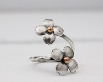Dogwood Blossom ring, Sterling double dogwood blososm ring, Size 7.5-8, ready to ship, gifts for her, rustic blossom ring, dogwood,Hapagirls