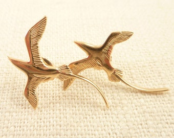 Vintage 14K Gold Bermuda Longtail Bird Post Earrings