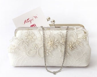 Bridal Clutch with Metallic silver embroidery Alencon lace and glass beads in ivory 8 inch frame | Wedding Gift for Bride