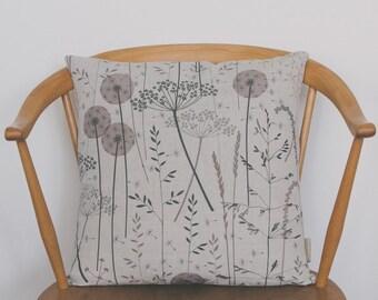 Floral Botanical Design Sofa Cushion / Gift Ideas / Gifts for Her / Paper Meadow / Blush / Hannah Nunn