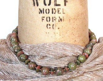 Moss Green and Salmon Pink Unakite Choker Necklace