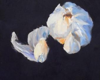 Garlic, 5x7 Oil on Panel, Still Life