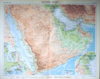 Vintage Map of Saudi Arabia - 1958 Large Map - South Arabia - Poster-Sized Map