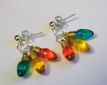 Christmas Light Bulb Earrings, Cluster Earrings, Christmas Earrings