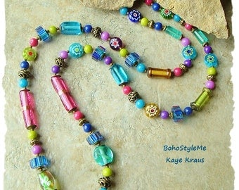 Boho Style Necklace, Colorful Hippie Love Beads, Gypsy, Handmade Bohemian Jewelry, BohoStyleMe, Kaye Kraus