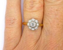 Vintage engagement ring 18ct Diamond Halo flower daisy cluster Mid century Wedding Anniversary Dinner ring *FREE SHIPPING*