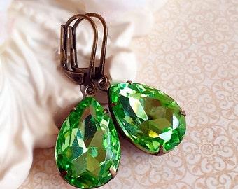 Green Victorian Earrings - Peridot - August Birthstone - Gift - CAMBRIDGE Peridot