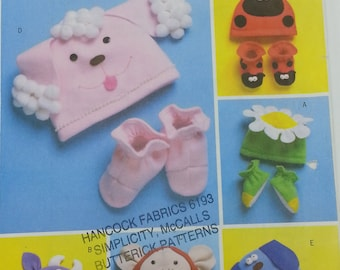 Infant Toddler Animal Hats and Slippers Pattern Butterick B4305 Six Hats Flower,Cow,Monkey,Poodle,Dog,Ladybug with Matching Slippers