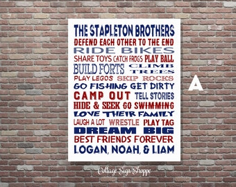 Brothers Wall Art, Brothers Sign,Boys Room Decor, DIGITAL, YOU PRINT, Brothers Room Decor ,Custom Brothers Art, Personalized Broth