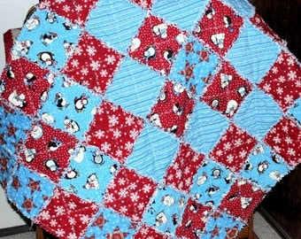 Christmas Baby Quilt, Flannel Baby Rag Quilt, Baby Quilt, Quilted Baby Blanket, Penguins and Polar Bears, Red and Blue Baby Rag Quilt