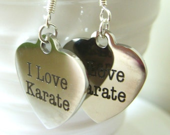 Christmas SALE I Love Karate Martial Arts Heart Earrings Jewelry 2020 Olympic Games Tokyo Bruce Lee Canadian Handmade Original Design©