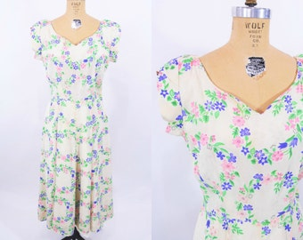 1940s floral dress | 40s floral wreath dress | AS IS vintage full skirt dress | L W 29""