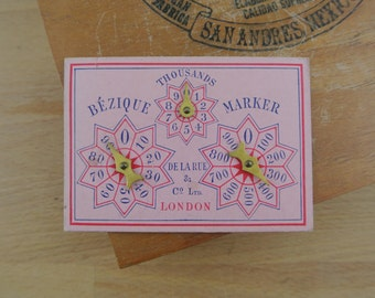 Antique / Vintage Marker for Bezique and Rubicon Bezique De La Rue & Co London Spinner Score Card