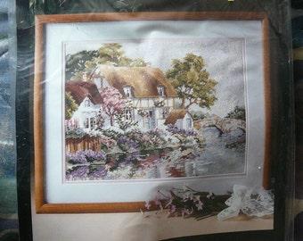 "NEW - ""Riverbank Cottage"" Needlepoint Kit Designed by Erin Dertner - RARE (Bucilla) Vintage"
