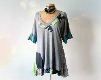 Grey Upcycled T-Shirt Rustic Design V-Neck Bohemian Chic Shirt Plus Size Women's Tattered Gypsy Tunic Art To Wear Eco Fashion XL 1X 'EDEN'
