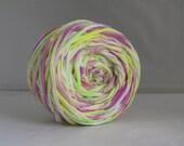 T Shirt Yarn Hand Dyed- Multi Fluorescent 60 Yards Neon Green, Neon Purple, White