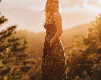 Ephemera    Organic Tank Dress with Pockets, Maxi dress, printed maxi, metallic gold, tent maxi, oversized maxi    by Simka Sol®