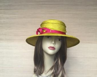Womens Straw Hat, Chartreuse Summer Hat, Sun Hat, Medium Brim Hat, Summer Straw
