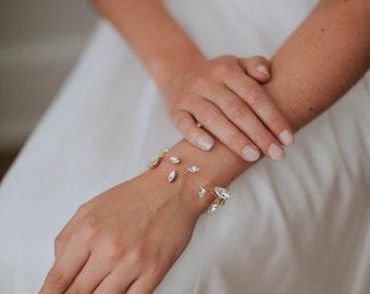 Rhinestone Leaf Bridal Bracelet | Ivory and Gold Wedding Bracelet | Delicate Ribbon Bracelet [Liv Bracelet]