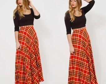 Vintage 70s PLAID Skirt Amber Plaid Maxi Skirt PLEATED Skirt Bobbie Brooks Skirt Indie Grunge Maxi Skirt