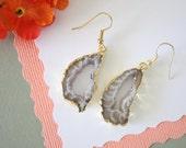 Geode Earrings Gold, Crystal Slice Earrings, Agate, BoHo Jewelry, Druzy Gold Earrings, Drusy Earrings, GGE63