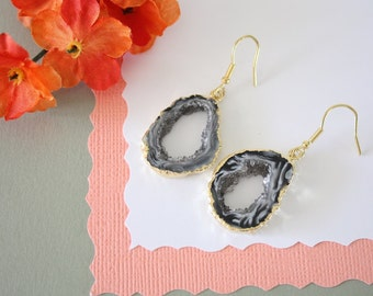 Geode Earrings Gold, Crystal Slice Earrings, Agate, BoHo Jewelry, Druzy Gold Earrings, Drusy Earrings, GGE45