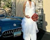 Lace Wedding Dress-Tea Length Lace Wedding Dress-Tea Length Dress-Tissue Linen-Tulle-Lace-Annaliese Skirt-Maternity Pregnant Bride Chic
