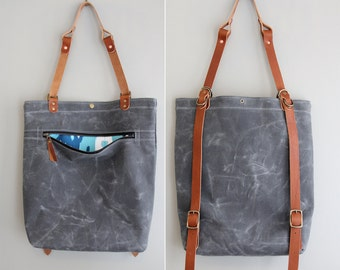 Backpack Tote Hybrid Convertible: Charcoal Waxed Canvas and Leather