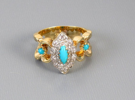 Vintage estate 14k yellow and white gold diamond and Persian blue turquoise ring size 5-1/2