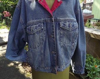 Vintage GAP Reversible Denim Jacket Red Rain Jacket