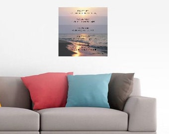 Sunset on Water Canvas Gallery Wrap, Apache Blessing, 16x16, Lake Sunset Photo, Coastal Beach Decor